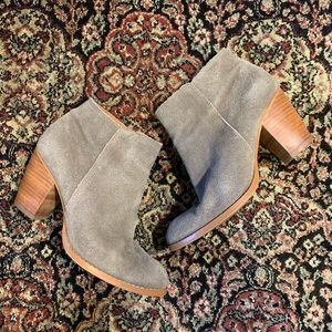 Grey Suede Leather Ankle Booties by Seychelles